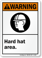Warning: Hard Hat Area (graphic) Sign