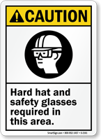 Caution Hard Hat Safety Glasses Required Sign