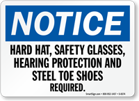 Hard Hat Glasses Required Sign