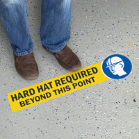 Hard Hat Required Beyond This Point SlipSafe Floor Sign