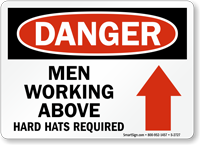 Danger Men Working Above Hard Hats Sign