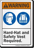 Hard Hat Safety Vest Required ANSI Warning Sign