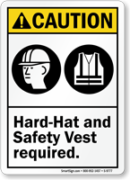 Hard Hat And Safety Vest Required Caution Sign