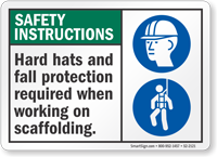 Hard Hats And Fall Protection Required Sign
