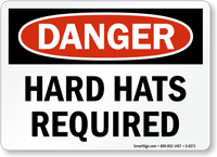 Hard Hats Required OSHA Danger Sign