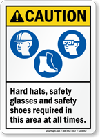 Hard Hats, Safety Glasses Safety Shoes Required PPE Sign