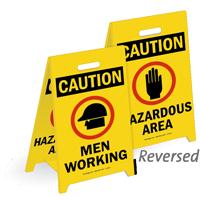 Caution Men Working & Hazardous Area Floor Sign