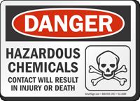 Hazardous Chemicals OSHA Danger Sign
