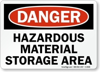 Danger Hazardous Material Storage Area Sign