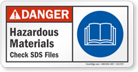 Hazardous Materials Check SDS Files ANSI Danger Sign