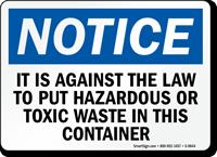 Hazardous Toxic Waste Disposal Law Notice Sign