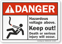Hazardous Voltage Above Keep Out ANSI Danger Sign