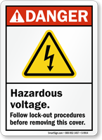 Hazardous Voltage Follow Lock-Out Procedures ANSI Danger Sign