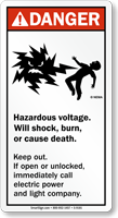 Hazardous Voltage ANSI Sign