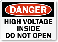 Danger Hazardous Voltage Inside Sign