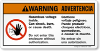 Bilingual Hazardous Voltage Inside Substation Sign