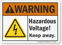 Hazardous Voltage Keep Away ANSI Warning Sign