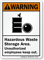 Hazardous Waste Storage Area Warning Sign