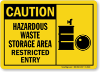 Caution: Hazardous Waste Storage Area Sign