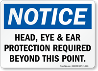 Head, Eye & Ear Protection Required Sign