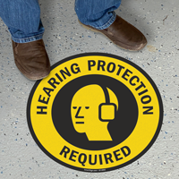 Hearing Protection Required Floor Sign
