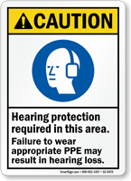Hearing Protection Required Wear PPE ANSI Caution Sign