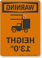 Height Low Clearance OSHA Warning Rear View Mirror Sign