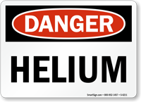 Helium OSHA Danger Sign