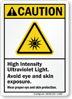 High Intensity Ultraviolet Light Caution Sign