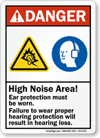 High Noise Area Wear Hearing Protection Sign
