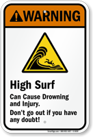 High Surf Can Cause Drowning Injury Sign