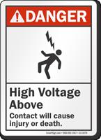 High Voltage Above ANSI Danger Sign