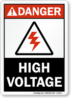 Danger (ANSI) High Voltage Sign