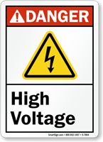 High Voltage ANSI Danger Sign With Graphic