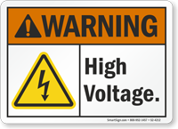 High Voltage ANSI Warning Sign