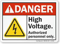 High Voltage Authorized Personnel Only ANSI Danger Sign
