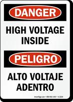 Danger High Voltage Inside Sign Bilingual