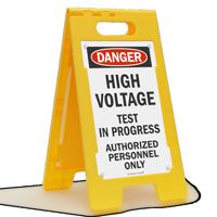 High Voltage Test In Progress Danger Floor Sign
