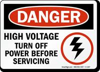 Danger High Voltage Turn Off Power Sign
