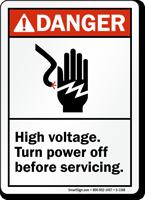 Danger ANSI, High Voltage Turn Power Off Sign