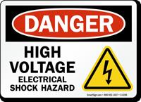 High Voltage Electrical Shock Hazard OSHA Danger Sign