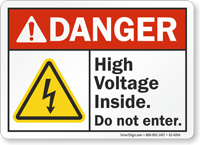 High Voltage Inside Do Not Enter ANSI Danger Sign