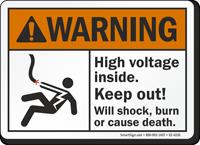 High Voltage Inside Keep Out ANSI Warning Sign