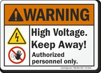 High Voltage Keep Away ANSI Warning Sign