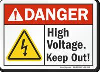 High Voltage Keep Out ANSI Danger Sign