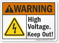 High Voltage Keep Out ANSI Warning Sign