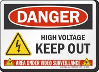 High Voltage Keep Out Danger Sign