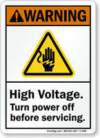 High Voltage Turn Power Off Before Servicing Sign