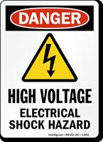 OSHA Danger High Voltage Electrical Shock Hazard Sign