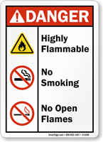 Highly Flammable No Smoking No Open Flames Sign